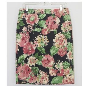 Talbots Watercolor Floral Pencil Skirt Work 1901X